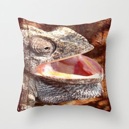 The Laughing Chameleon Throw Pillow