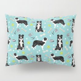 Border Collie tennis ball cute pet portrait by pet friendly dog patterns dog breed gifts Pillow Sham