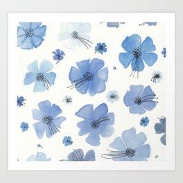 Periwinkle Blue Flower Garden Art Print