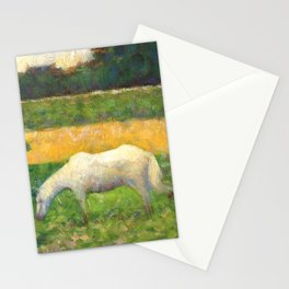 "Georges Seurat ""Paysage avec cheval (Landscape with a white horse)"" Stationery Cards"