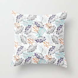 Berries and Leaves by Minikuosi Throw Pillow