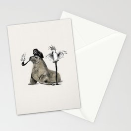 Pirate // seal parrot Stationery Cards