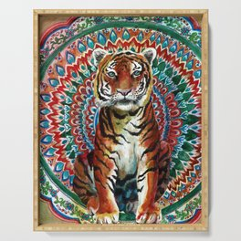 Tiger Watercolor Yoga Mandala Serving Tray