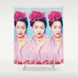 Tres Fridas in Pink Shower Curtain
