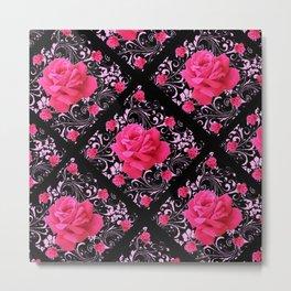 FUCHSIA PINK ROSE BLACK BROCADE GARDEN ART Metal Print
