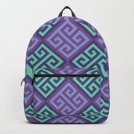 Blue & Purple Ornate Twists Geometric Pattern Backpack