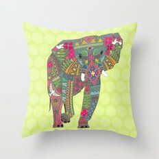 painted elephant chartreuse spot Throw Pillow