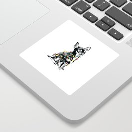 Chihuahua dog with colorful festoon Sticker