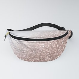 Blush Pink Sparkles on White and Gray Marble V Fanny Pack