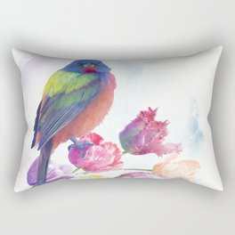 Male Painted Bunting with tulips, watercolor painting Rectangular Pillow