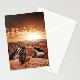 man on top of horse shoe bend Stationery Cards