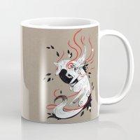 okami Mugs featuring OKAMI RIBBONS by Rubis Firenos