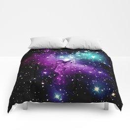 Eagle Nebula purple blue teal Comforters