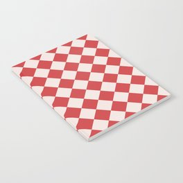 Red and White Checkered Diamond Pattern Notebook