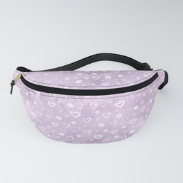 Watercolor Lavender & White Hearts Fanny Pack