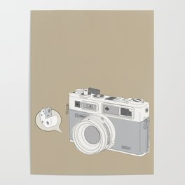 """Yashica Camera - """"Say Cheese"""" - soft-brown Poster"""