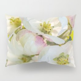 Close-up of Apple tree flowers on a vivid green background - Summer atmosphere Pillow Sham
