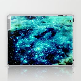 GALAXY. Teal Aqua Stars Laptop & iPad Skin