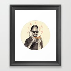 Snoop Dogg in love with a Hotdog Framed Art Print