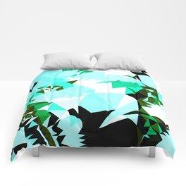 tropical geo cyan Comforters