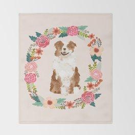 australian shepherd red merle floral wreath dog gifts pet portraits Throw Blanket