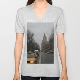 Grey New York City Street with Yellow Cab Unisex V-Neck