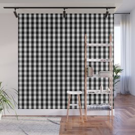 Small Black White Gingham Checked Square Pattern Wall Mural