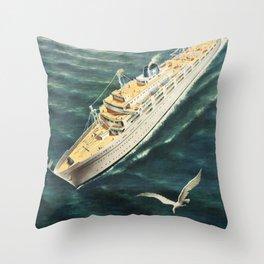 Flotta Lauro Vintage Travel Poster Throw Pillow