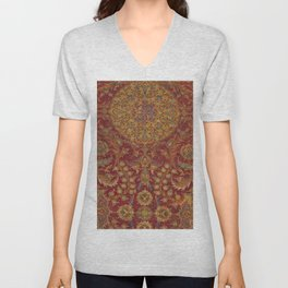 Boho Funky III // 16th Century Distressed Red Green Blue Flowery Colorful Ornate Rug Pattern Unisex V-Neck