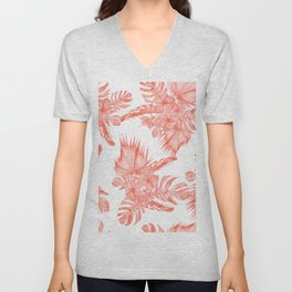 Tropical Palm Leaves Hibiscus Flowers Deep Coral Unisex V-Neck