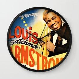 Louis Armstrong Parker Auditorium, Minot, North Dakota Satchmo Jazz Vintage Advertising Concert Poster Wall Clock