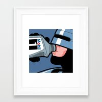 the secret life of heroes Framed Art Prints featuring The secret life of heroes - Robot Drink by Greg-Guillemin