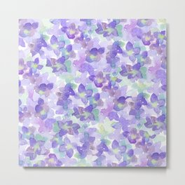 Hand painted watercolor violet lilac lavender green floral Metal Print