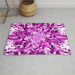 distorted squares, violet Rug