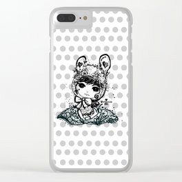 girl art - cute bunny girl Clear iPhone Case