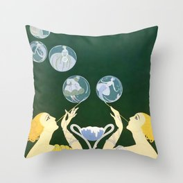 "1920's Art Deco Design ""Bubbles"" Throw Pillow"