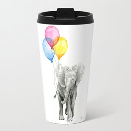 Baby Elephant with Balloons Nursery Animals Prints Whimsical Animal Travel Mug