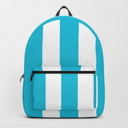 Caribbean blue - solid color - white vertical lines pattern Backpack