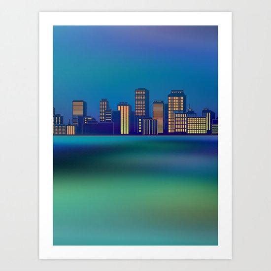 Seaside Cityscape Art Print