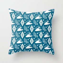 Mid Century Modern Boomerang Abstract Pattern Peacock Blue Throw Pillow