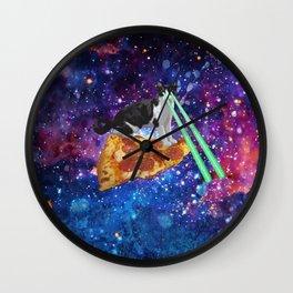 Galaxy Laser Beam Eyes Cat on Pizza Wall Clock