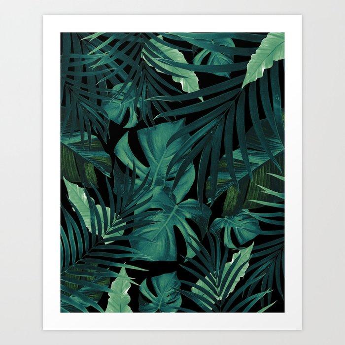 Tropical Jungle Night Leaves Pattern #1 #tropical #decor #art #society6 Art Print