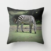 zebra Throw Pillows featuring Zebra by BeachStudio
