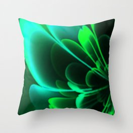 Stylized Half Flower Green Throw Pillow