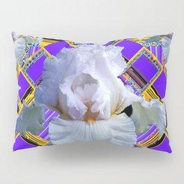 ART DECO WHITE IRIS PURPLE ART Pillow Sham