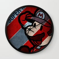 super mario Wall Clocks featuring SUPER MARIO by sbs' things