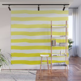 Sun Yellow Handdrawn horizontal Beach Stripes - Mix and Match with Simplicity of Life Wall Mural