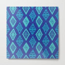 Blue Tribal Print Metal Print