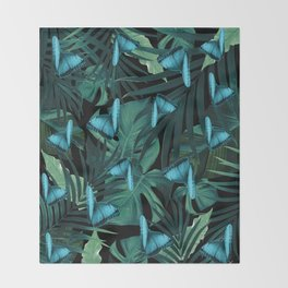 Tropical Butterfly Jungle Night Leaves Pattern #5 #tropical #decor #art #society6 Throw Blanket