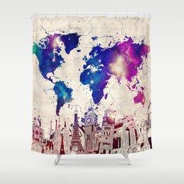 world map city skyline galaxy 2 Shower Curtain